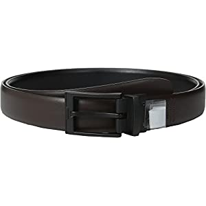 Perry Ellis Men's Big-Tall Portfolio Matte Buckle Belt, Black/Brown Reversible, 52