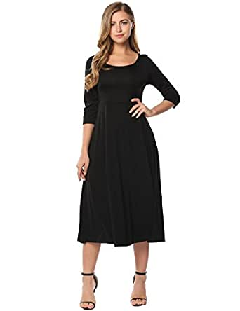 acevog Women's 3/4 Sleeve A-line Swing Pleated Casual Flare Midi Long Dress(Black,S)