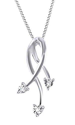 Jewel Zone US White Natural Diamond Accent Dangling Pendant Necklace in 10k White Gold