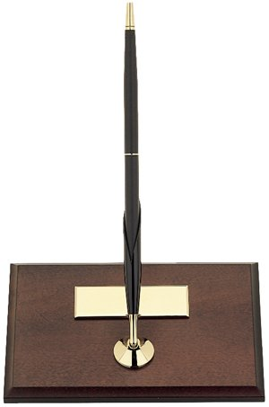 Cross Desk Set, Single Desk Set, Mahogany Finish with Single Classic Black Ballpoint Pen (5607)
