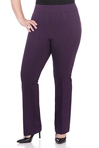 Rekucci Curvy Woman Secret Figure Knit Bootcut Plus Size Pant w/Tummy Control (20W,Deep Plum)