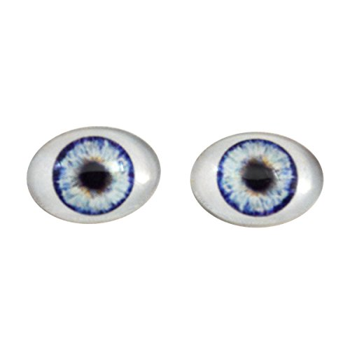 Glass Oval Eyes (Blue Doll Oval Glass Eyes Fantasy Taxidermy Art Doll Making or Jewelry Crafts Set of 2 (18mm x 25mm))
