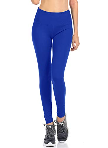 VIV Collection Signature Leggings Yoga Waistband Soft w Hidden Pocket (XL, Royal Blue)