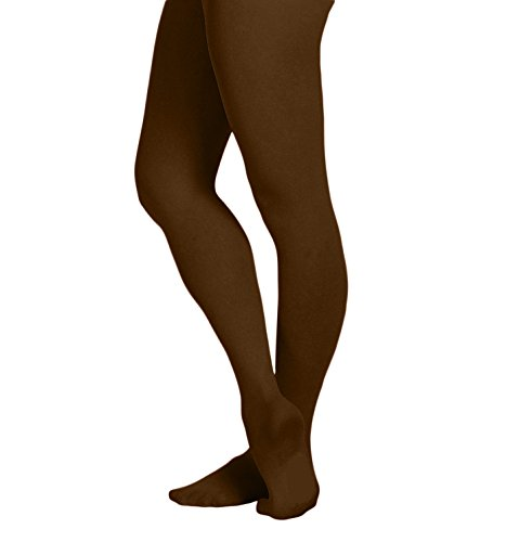 EMEM Apparel Girls' Kids Childerns Solid Colored Opaque Dance Ballet Costume Microfiber Footed Tights Stockings Fashion Brown 8-10 -