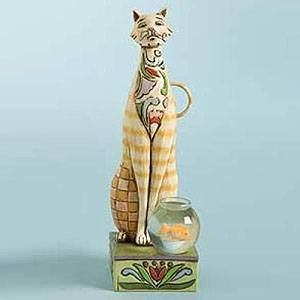 Jim Shore Heartwood Creek from Enesco Tall Cat with Fishbowl Figurine 7.75 IN (Tall Cat Jim Shore)