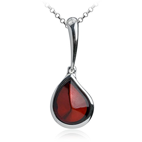 Ian and Valeri Co. Cherry Amber Sterling Silver Teardrop Pendant Necklace Chain 18