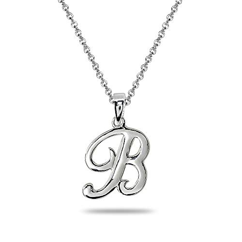 Sterling Silver B Letter Initial Alphabet Name Personalized 925 Silver Pendant Necklace ()