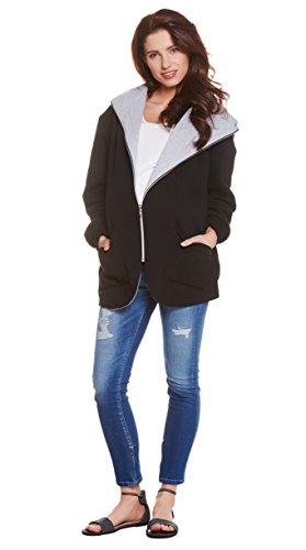 Be! Mama - 3in1 Übergangsjacke - normale Jacke / Umstandsjacke / Stilljacke! Wendejacke, hochwertige Baumwolle und Verarbeitung, Modell: OMAN Schwarz