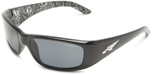 Arnette Men's Quick Draw Wrap, Gloss Black w/Grey Polarized, 59 mm