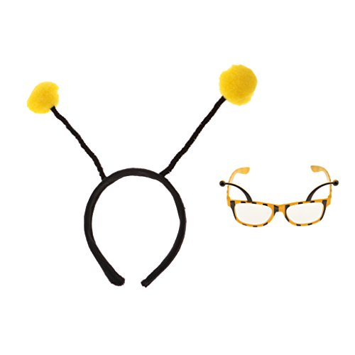 MonkeyJack Funny Yellow Insect Bumble Bee Hairband Eyeglasses Glasses Eyewear Dressing up Party Prop Accessory Gifts - Bumble Bee Antennae