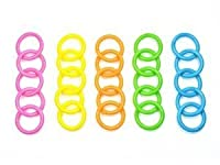 Bluecell Pack of 25 Assorted color Plastic Snap Ring 44mm for Loose leaf / Bathroom Shower Curtain / Outdoor Activities