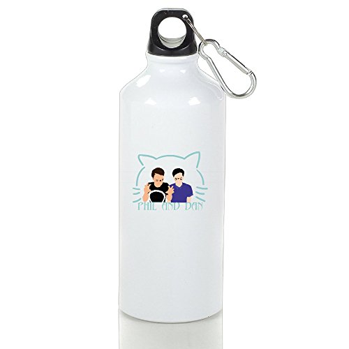 White Cute Fashion Special Cat ZQND Aluminum Outdoor Water Bottle 16oz Unisex Printed On Both Sides