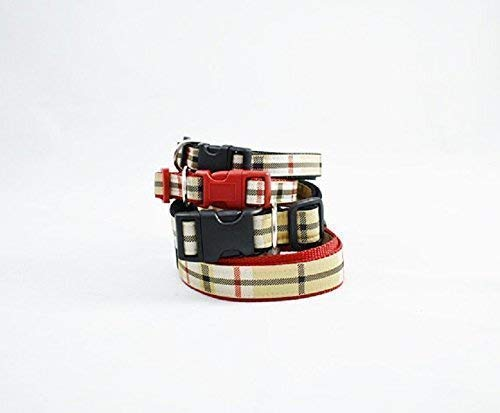 (Exquisite TAN PLAID Designer DOG COLLAR in Red or Black Trim - Fashion Nova Check **FREE SHIPPING**)