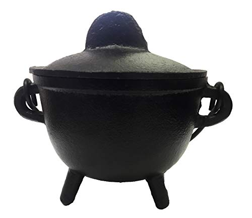New Age Imports, Inc. Cast Iron Cauldron w/handle & lid, ideal for smudging, incense burning, ritual purpose, decoration, halloween decoration, candle holder, etc. (Pot Style 4'' Dia (BR90)) by New Age Imports, Inc. (Image #1)