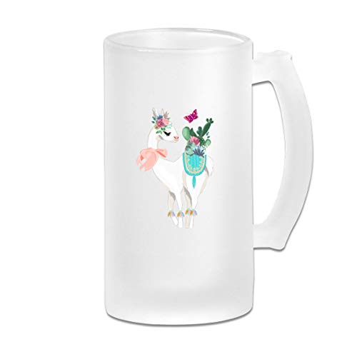 (Negi Cute Cactus Alpaca Butterfly 16 Oz Frosted Glass Stein Wine Beer Mug Couples)