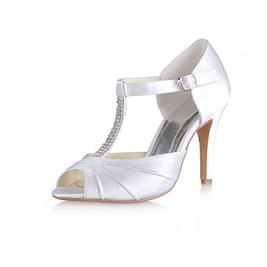 White Crystal 3 3In Stretch Satin US10 Heel amp;Amp; Party Wedding 5 UK8 Ruffles CN43 Shoes RTRY EU42 Pump 5 Stiletto Wedding Summer 4In 3 Evening Women'S Basic Un7aYWAq