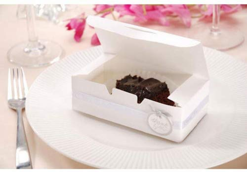 Small Cake Boxes with DOILIES, 24 White Small Cake Boxes and 36 White Lace Paper Doilies for Guest Favor -