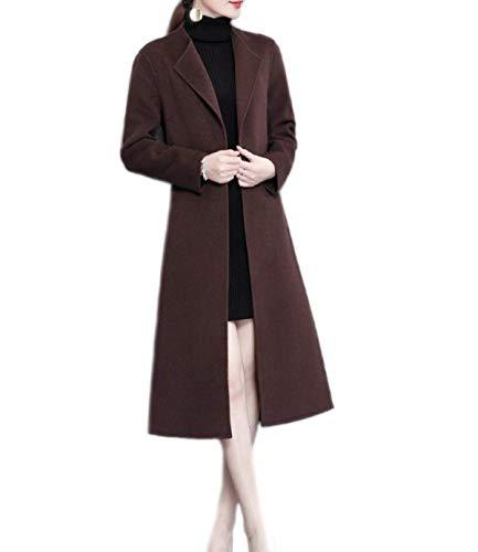 Calda Bavero Lunga Coffeecolor Cappotto Giaccone Manica Invernali Cappotto Colore Cappotti Casual Huixin Coat Costume Lunga Termico Vintage Lana Donna Puro Iqtw6nxS
