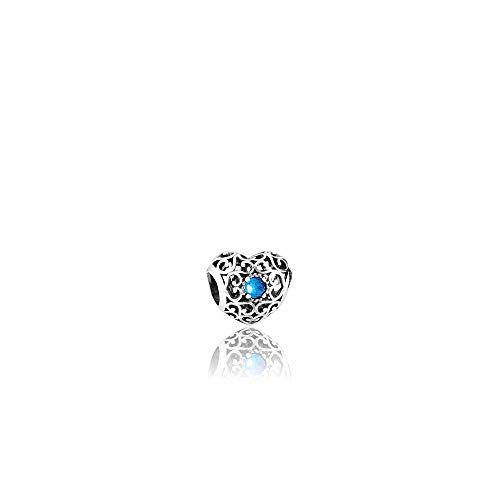 Pandora December Signature Heart Silver Charm with London Blue Crystal ()
