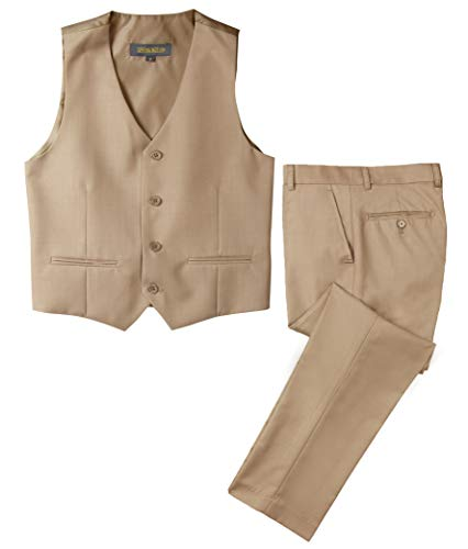 (Spring Notion Big Boys' Two-Button Suit Khaki 4T Vest and Pants)