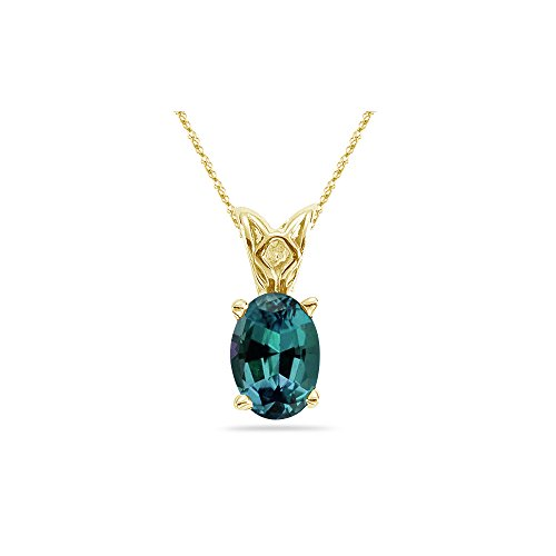 13.03-21.90 Cts of 18x13 mm AAA Oval Russian Lab Created Alexandrite Scroll Solitaire Pendant in 14K Yellow Gold