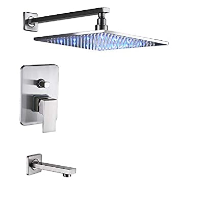 "Rozin Bathroom 2-way Mixing Shower LED Light Rainfall 12""Top Showerhead + Tub Spout Tap Brushed Nickel"