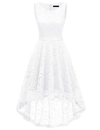 - DRESSTELLS Women's Homecoming Vintage Floral Lace Hi-Lo Cocktail Formal Swing Dress Dress White L