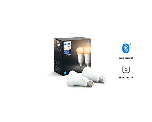 (Philips Hue White Ambiance 2-Pack A19 LED Smart Bulb, Bluetooth & Zigbee compatible (Hue Hub Optional), voice activated with Alexa)