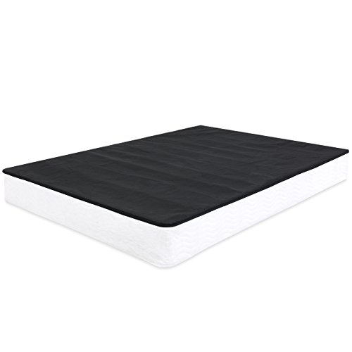 (Best Choice Products Easy Assembly Black Metal Box Frame Mattress Foundation w/Cover (Full)