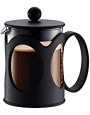 Bodum 10683-01 Kenia Franse perskoffiezetapparaat, borosilicaatglas - 4-Cup (0,5 L), zwart