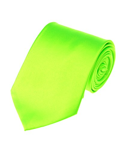 Men's Smooth Satin Solid Color Extra Long XL Necktie, Lime Green ()
