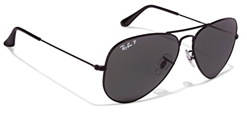 Ray Ban RB3025 Aviator Sunglasses Unisex (58 mm Black Frame Polarized Black Lens, 58 mm Black Frame Polarized Black - Aviator Bans Black Ray