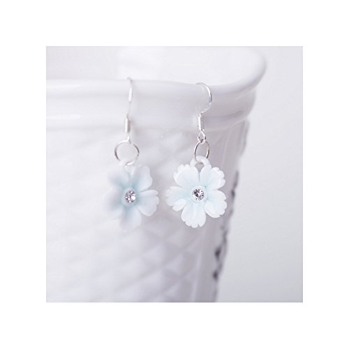 Winter's Secret Handmade Ceramic Diamond Studded Sky Blue Flower Dangle Earring (Halloween Cupcakes Decorations Uk)