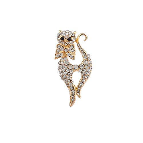 Lux Accessories Xmas Christmas Holiday Goldtone Bling Cat Meow Brooch Pin