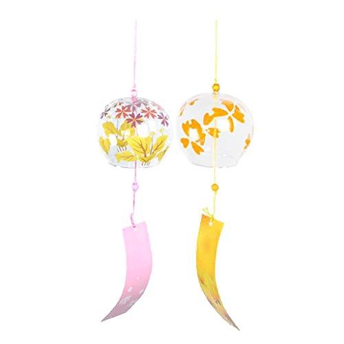 MonkeyJack 2pcs Wind Bell Japanese Wind Chimes Handmade Glass Windchimes DIY Decor Crafts -Cherry Blossom + Yellow Leaf