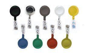 Brady People Id 2120-3032 Round Badge Reel with Clear Vinyl Strap and Belt Clip, Cord Length 34
