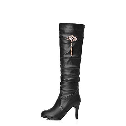 Diamond Boots Imitated Leather Glass Stiletto Chain BalaMasa Girls Metal Black 68Twq6IB