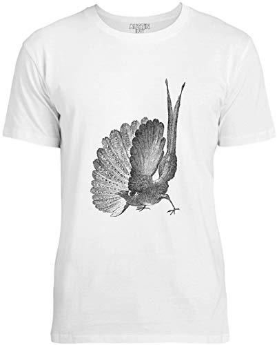 Austin Ink Apparel Womens Great Argus Pheasant Unisex Cotton T-Shirt, Ice White, XL