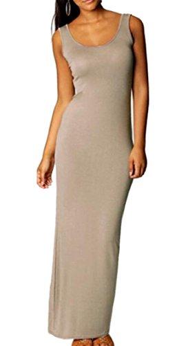 Sexy Solid Casual Womens Crew Neck Grey Sundress Color Jaycargogo Maxi Elegant TwqYSFxFI