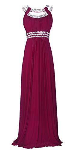 Licoco Women Sleeveless Beaded Semi-Formal Long Maxi Evening Gown Wedding Dress (Plum 70, XXLarge) (Islamic Prom Dresses)