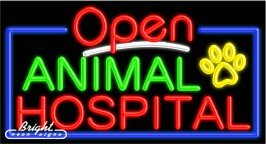 Animal Hospital Open Neon Sign - 20 x 37 x 3 inches - Made in USA
