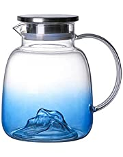 Sharemee - Blue Mountain Glass Water Pitcher with Spout, Stainless Steel Lid Water Carafe Flask Glass Container, Heat Resistance Juice Iced Tea Milk Jar Jug, 1800ml/ 61oz
