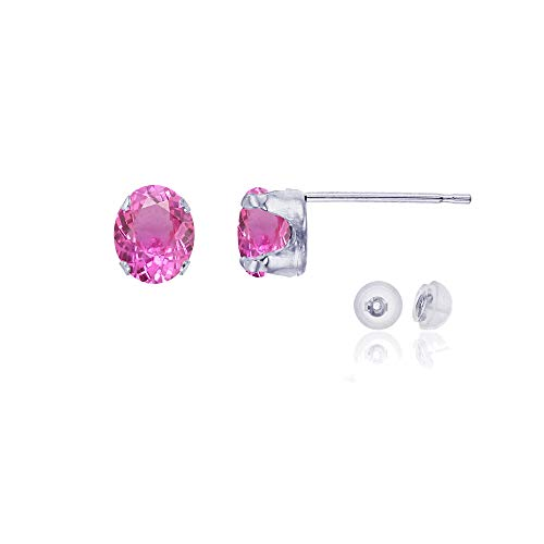 Genuine 10K Solid White Gold 6x4mm Oval Created Pink Sapphire Birthstone Stud Earrings