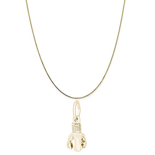 Rembrandt Charms 10K Yellow Gold Oil Drill Charm on a 10K Yellow Gold Box Chain Necklace, 16