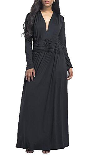Evening V Sleeve Black Maxi Jaycargogo Dress Long neck Women Party 5P5q6Z