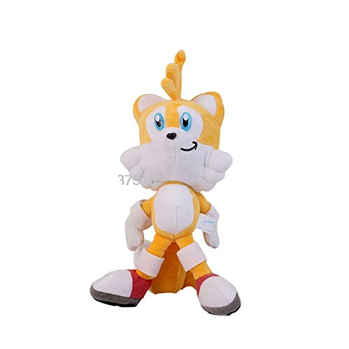 Sonic The Hedgehog Plush Red Knuckles The Echid Yellow Tails Miles Prower Stuffed Doll Toys 8 inch (Yellow Tails)