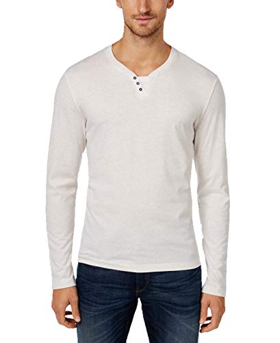 Alfani Mens Heathered Long Sleeves Henley Shirt Ivory XXL