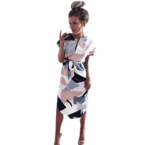 Womens Dresses Summer Casual V-Neck Floral Print Geometric Pattern Belted Dress Fashion Midi Pencil Dresses Pink