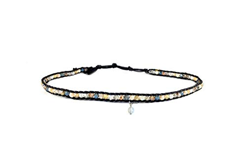 Lotus and Luna Galactic Goddess Moonstone Choker Necklace and Double Wrap -