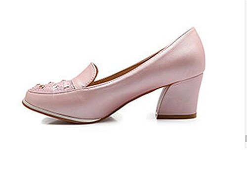 Femme, rond, orteil, épais, mi, heeled, peu profond, bouche... , pink , 37